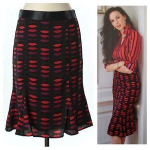 L'Wren Scott lip print skirt size 0